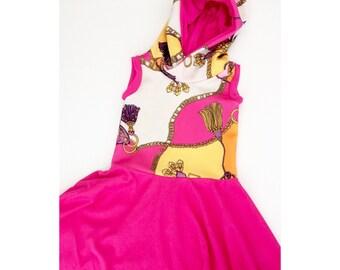 Chain tank dress - girls hooded dress - summer tank dress - girls hood dress - toddler tunic dress - girls jersey dress