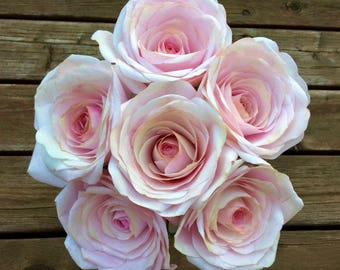 Handcrafted paper roses x 3, light pink realistic flowers made from coffee filter crepe paper. Stunning for weddings or home decor.
