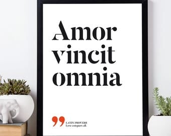 Amor vincit omnia – Love conquers all, Latin printable quotes, Latin proverbs sayings, Roman quotes, Printable wall art, INSTANT DOWNLOAD