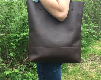 Brown Leather Tote // Oil Tanned Leather Bag // Work Bag