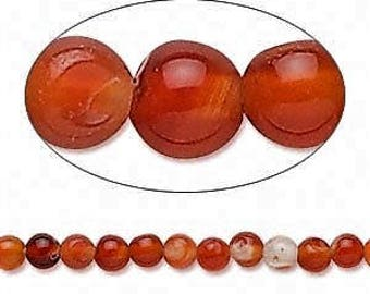 Red Agate Bead, Hand-cut,  4mm Round, 20 beads, D1043