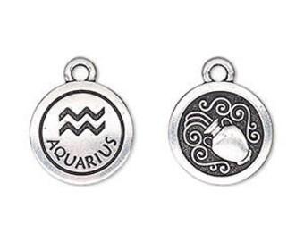 Aquarius Charm, Antiqued Silver, Astrological Charm, Zodiac Charm, Pendant, 15mm, 1 Each, D1071