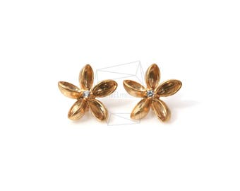 ERG-505-MG/2PCS/Simple Flower CZ Earring Post/16mm x 16mm/Matte Gold Plated over Brass