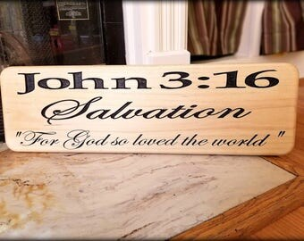 John 3:16, Gospel, Salvation, For God so loved the World, Bible Verse, New Testament, Jesus, Pastor Gift, Baptism Gift, Friend Gift