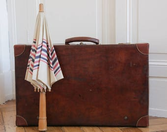 French Antique Leather Suitcase Luggage
