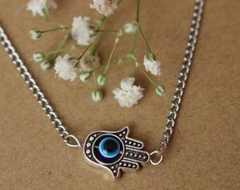 Hamsa Evil Eye Necklace, Zen Necklace, Hippie Necklace, Protection Necklace, Hand Of Fatima Necklace, Zen, Boho