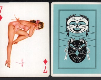 Alberto Vargas 1950's Vargas Girl Playing Card Swap Card 7 OF DIAMONDS Near Mint / Mint