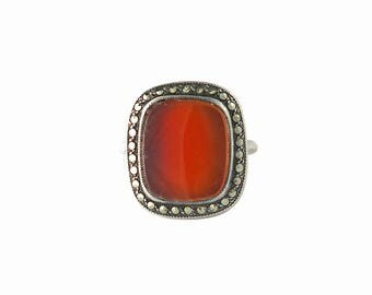 Art Deco Sterling Carnelian Marcasite Ring