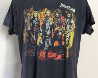 Vtg 1986 Judas Priest Fuel For Life Concert T-Shirt M/L 80s Heavy