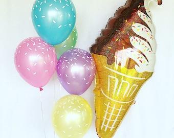 Ice Cream Cone Party Balloons~Ice Cream Sprinkles Balloons~Ice Cream Jumbo Balloon~Sprinkle Pastel Latex Balloons~Ice Cream Bar Decor