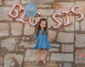 Big Sis Rose Gold Letter Balloons~Bis Sis Reveal Party~Baby Announcement~Gender Reveal Party~Rose Gold Big Sis Banner~Rose Gold Balloons