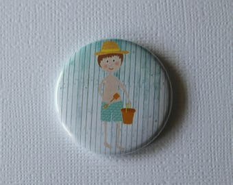 Summer holiday beach weather - flat Badge or PIN or magnet