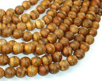 Matte Tibetan Agate Beads, 8mm (8.5mm) Round Beads, 15.5 Inch, Full strand, Approx 48 beads, Hole 1mm (122054195)
