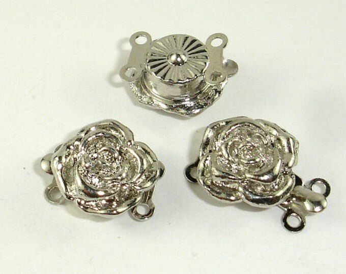 Rose Box Clasps- 2 strand , Rhodium Plated, 12mm, 4pcs (006854011)