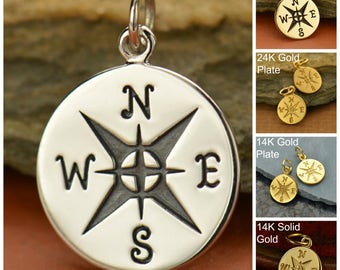 Sterling Silver, Compass Charm, Silver Compass, Compass Jewelry, Travel Charm, Silver Travel Charm, Travel Jewelry, Journey Charm