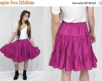 June Sale Vintage 80s Malco Modes Fuschia Crinkle HIGH Waist FULL Circle Retro Mini Skirt S