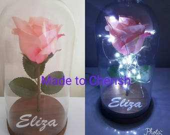 Personalised Rose in Glass Dome Light. Beauty and the Beast Style