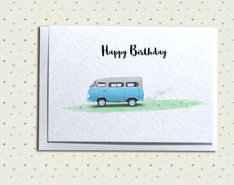 Camper Van Greetings Card - Birthday, Father's Day, Thank You
