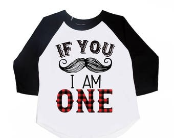 If you mustache I am one - mustache birthday theme - first birthday - buffalo plaid one - lumberjack plaid birthday shirts - one year old