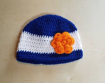 Youth/Adult size Denver Broncos inspired Crocheted  Flower Beanie