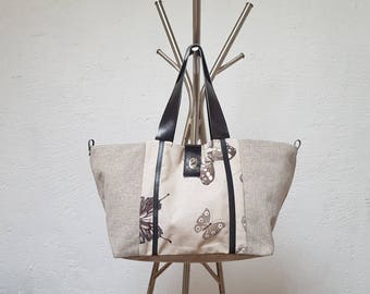 CANVAS tote bag with butterflies and leather handles