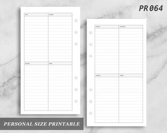 Personal Size Printable Vertical Wo2P Lined Weekly Week on Two 2 Page Wo2 Digital Download PR064