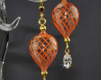 Gold plated earring, Venetian thread glass orange, mouth-blown, Silver 925/000