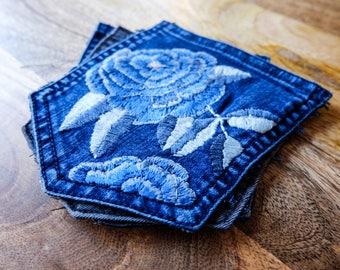Blue Flower Denim Pocket