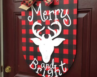 Deer Christmas Door Hanger, Deer wreath, Christmas door Hanger, Buffalo check plaid door hanger, Deer Head Door Hanger