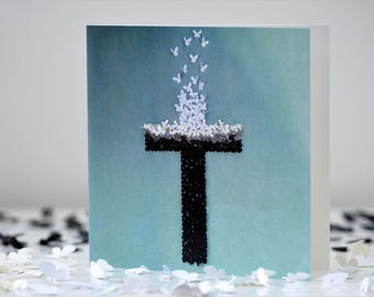 Easter The Cross  Card, Christian Card, Jesus Card, Baptism Card, Believers card, The Cross Card, God Card, Christening card,Butterfly Card