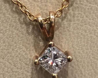 0.40ct Princess Cut Diamond Pendant in 18K Rose Gold + Matching Chain