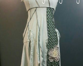 2017-080 - short sleeve light green boho shabby chic eco dress - size L