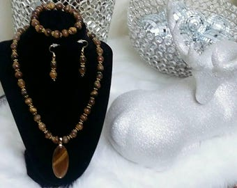 Tiger's Eye Boho Chic Ladies Necklace Set, stocking stuffers, anniversary gifts, birthday gifts.