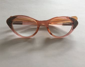 Vintage Cat Eyeglasses with Rhinestone Accents - 1950's