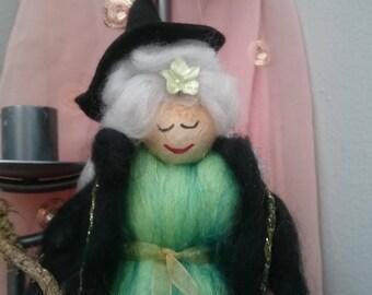 Needle Felt Fairy.  Merino wool felt Faerie. Emerald Lady. Wool Felt Faerie. Hand Crafted. Felt Fairy. Magical Fairy.