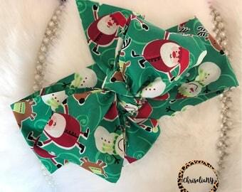 Santa head wrap, Christmas Headwrap, Newborn Headwrap, Fabric Headwraps, Headwrap, Toddler Headwrap,  baby headwrap, baby headband
