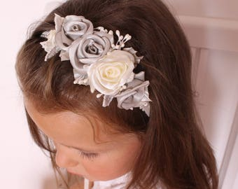 Light gray ivory roses Headband,wedding christening baby Headband,little girl Baby girl Newborn Toddler Headband,Cream gray Flower Headband