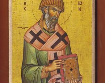 Saint Spyridon, Bishop of Cyprus Tremithon,Monk Michael, Mount Athos.Christian orthodox icon.FREE SHIPPING