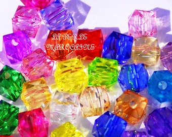 80 BEADS ACRYLIC CUBE COLOR VARIETY 6MM
