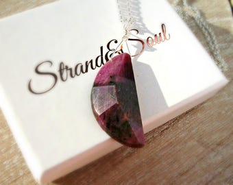 Raw Ruby Necklace On Sterling Silver - Gift For Her - Christmas Gift - July Birthstone