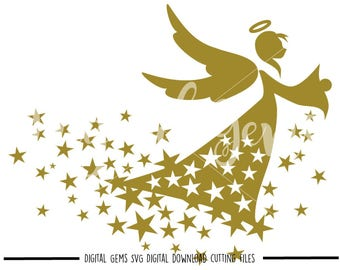 Angel svg / dxf / eps / png files. Digital download. Compatible with Cricut and Silhouette machines. Small commercial use ok.
