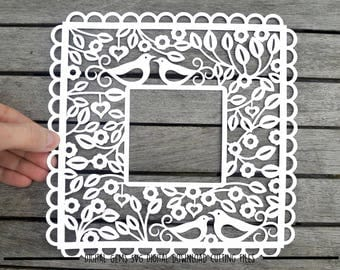 Frame paper cut svg / dxf / eps / files and pdf / png printable templates for hand cutting. Digital download. Small commercial use ok.
