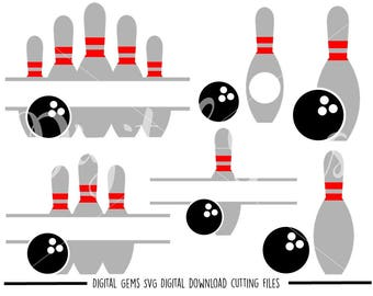 Bowling Ball And Pins svg / dxf / eps / png files. Digital download. Compatible with Cricut and Silhouette machines. Small commercial use ok