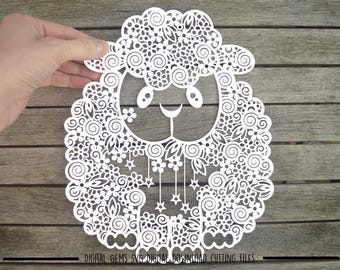 Zentangle Sheep paper cut svg / dxf / eps / files and pdf / png printable templates for hand cutting. Download. Small commercial use ok