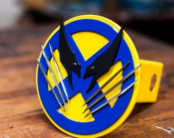 Wolverine Trailer Hitch Cover- Yellow and Blue