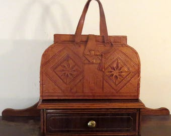 Vintage Tooled Brown Leather Doctor Satchel With Dual Handles - VGC - Very Nice