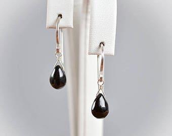 Little Black Spinel Earrings, Natural Gemstone Earrings, Drop Earrings, Leverback Earrings, 14K Rose Gold, Gold Filled, Sterling Silver