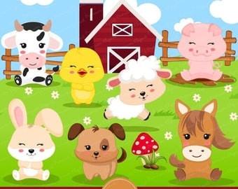 80% OFF SALE Farm animal clipart, farm animal birthday party, farm birthday, farm party, clipart - CA357