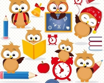 80% OFF SALE Back to school clipart, Owl clipart, school clipart, digital clipart commercial use - CA455