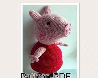 Peppa Pig crochet pattern (English), PDF format.